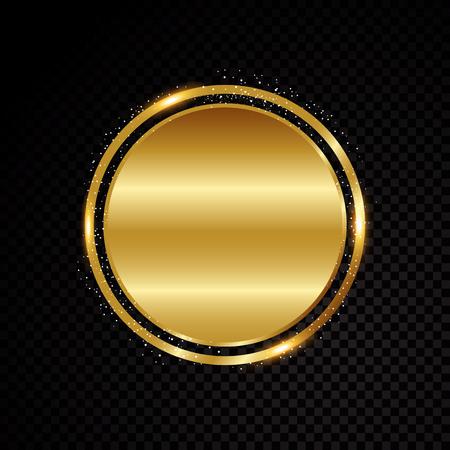 Vector circle frame. Shining banner. Isolated on black transparent background Vector illustration Illustration