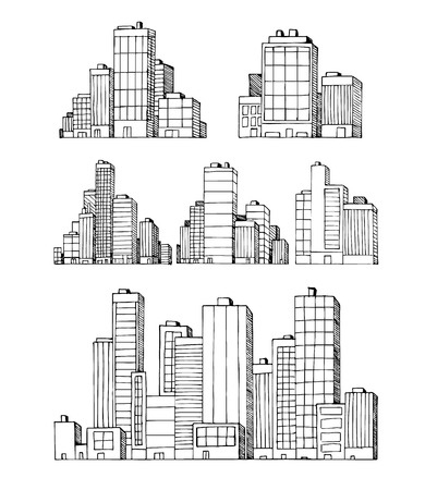 Grattacieli disegnati a mano delle costruzioni di vettore della città urbana Archivio Fotografico - 90677647