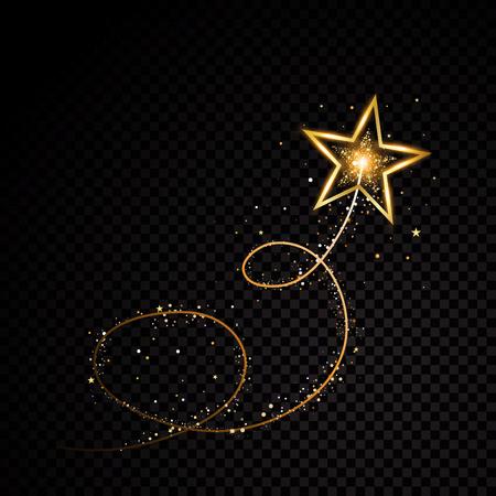Złota błyszcząca spiralna gwiazda pyłu ślad musujące cząsteczki na przezroczystym tle. Kosmiczny ogon komety. Wektor zestaw ilustracji mody glamour