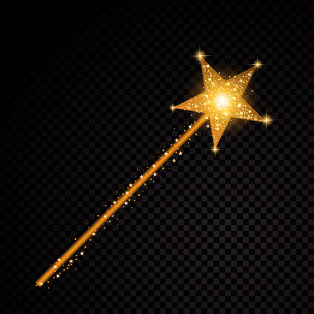 Gold glittering magic stick star dust trail sparkling particles on transparent background. Illustration