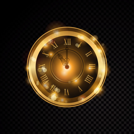 Vector golden shiny clock, isolated on transparent background.