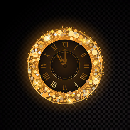 Vector golden clock isolated on transparent background