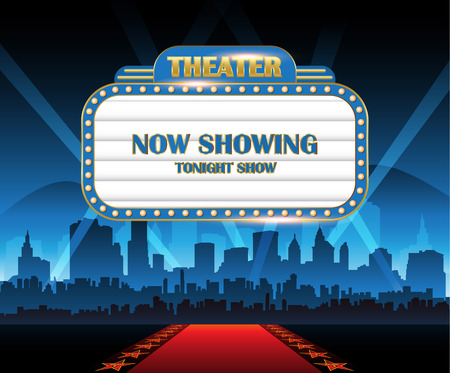 Gold brightly theater glowing retro cinema neon sign with city in background Vetores