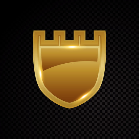 Gold brightly shield glowing security protection icon illustration.