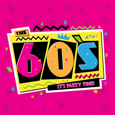 Party time The 60s style label Vector illustration.