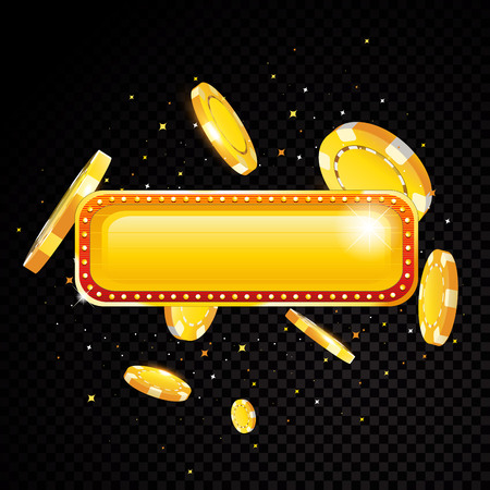 Golden vector casino vegas sign background with casino chips explosion