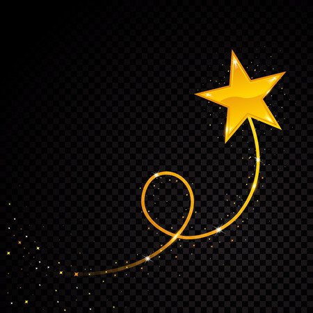 Gold glittering spiral star dust trail sparkling particles on transparent background. Space comet tail. Vector glamour fashion illustration 일러스트