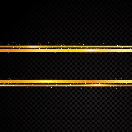 Vector golden line banner. Isolated on black transparent background. Vector illustration