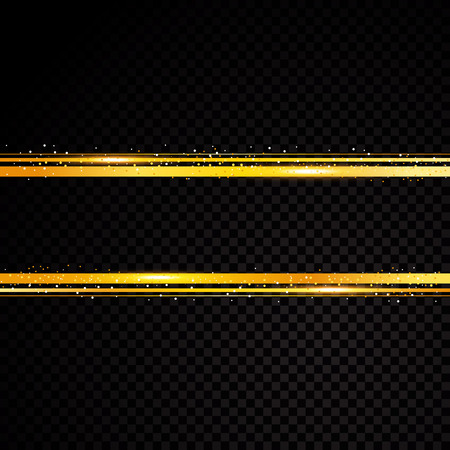 Vector golden line banner. Isolated on black transparent background. Vector illustration