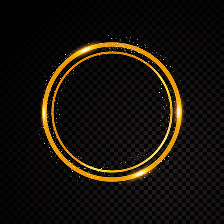 Vector round frame. Shining circle banner. Isolated on black transparent background Vector illustration