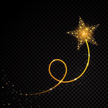 Polvere di stelle scintillanti a spirale d'oro scia particelle scintillanti su sfondo trasparente. Illustrazione di modo di fascino di vettore della coda della cometa spaziale.