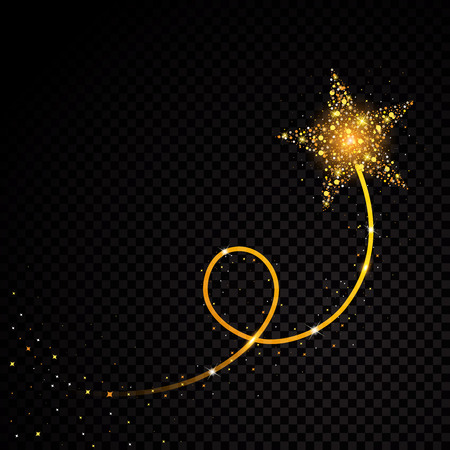 Gold glittering spiral star dust trail sparkling particles on transparent background. Space comet tail vector glamour fashion illustration. Vettoriali