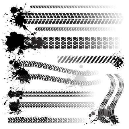 Set of tire tracks illustration.