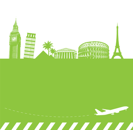 Travel vector background with famous landmarks. Stok Fotoğraf - 94454415