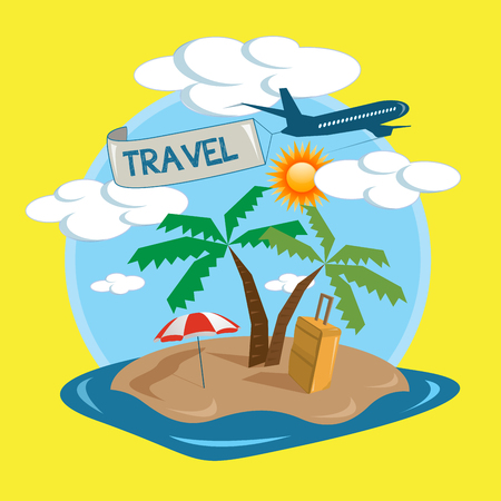 Vector travel tropical island design