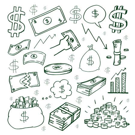 Cash money vector hand drawn symbol.