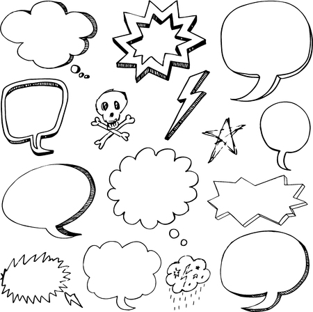 Hand drawn cartoon speech bubbles Ilustrace