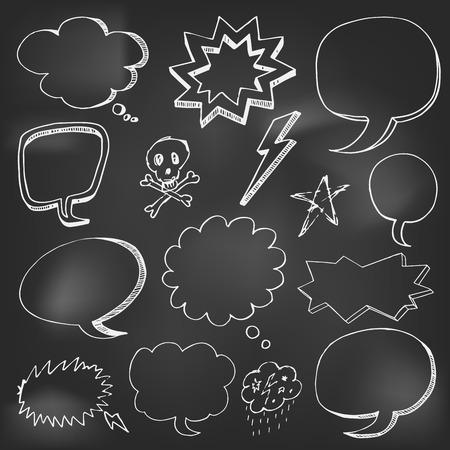 Hand drawn cartoon speech bubble on black board