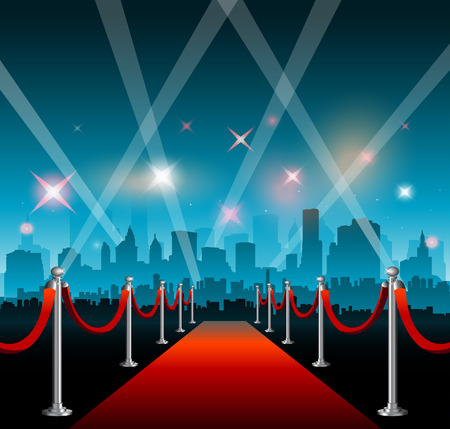 Movie red carpet background and party city  イラスト・ベクター素材
