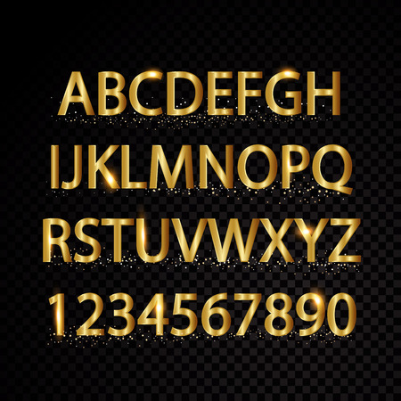 Gold vector alphabetical letters and numbers isolated on black background.