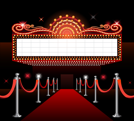 Theater sign movie premiere Stok Fotoğraf - 96889619