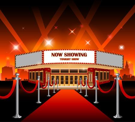 Red carpet movie theater illustration Stock Illustratie
