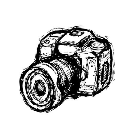 Hand drawn DSLR photo camera