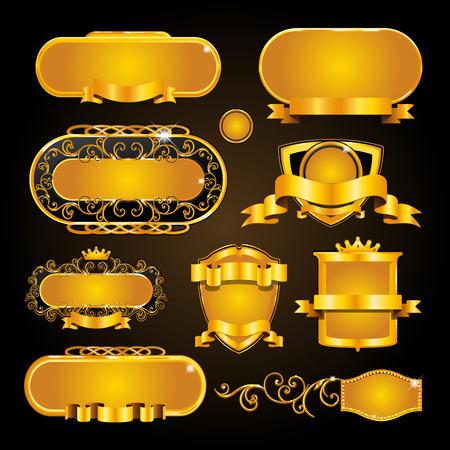 Vintage gold frame on black background Stock Vector - 97692832