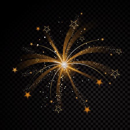 Oro brillante estrella explosión polvo rastro partículas brillantes sobre fondo transparente. Cola de cometa espacial. Vector ilustración de moda glamour