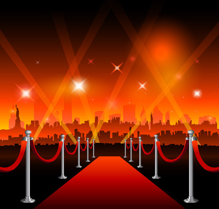 Red carpet movie theater, with Bright lights design.
