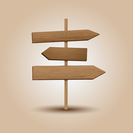 A realistic illustration of wooden signboard direction. Illustration