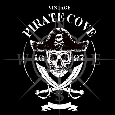 Pirate skull grunge design for t-shirt