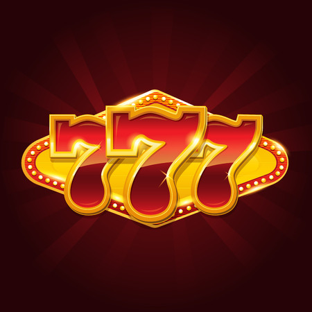 Set of 777 gold casino jackpot sign Çizim