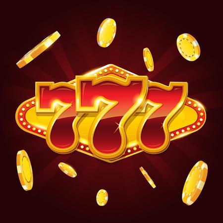 Set of 777 gold casino jackpot sign Illustration