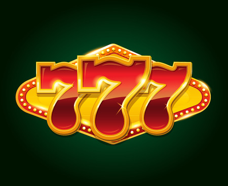 Set of 777 gold casino jackpot sign Illustration