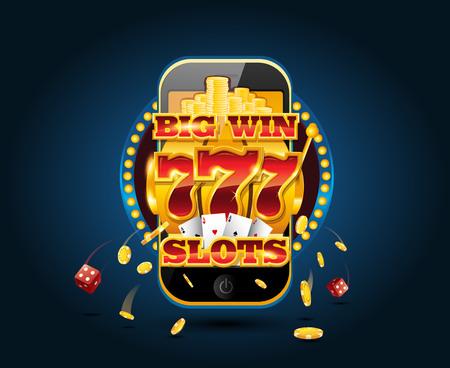 Online gambling concept cellphone casino app Vectores