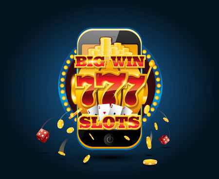 Online gambling concept cellphone casino app Illustration