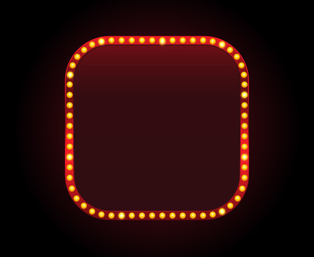 Rectangle vector theater sign frame with lights