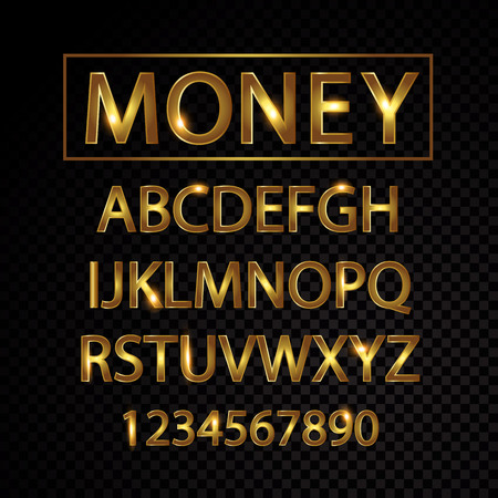 Gold vector alphabet letters and numbers isolated on black background