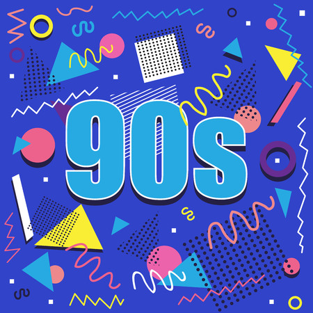 Best of 90s illistration with abstract retro design on blue background Stock Illustratie