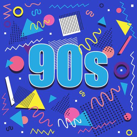 Best of 90 s illistration avec design rétro abstrait sur fond bleu