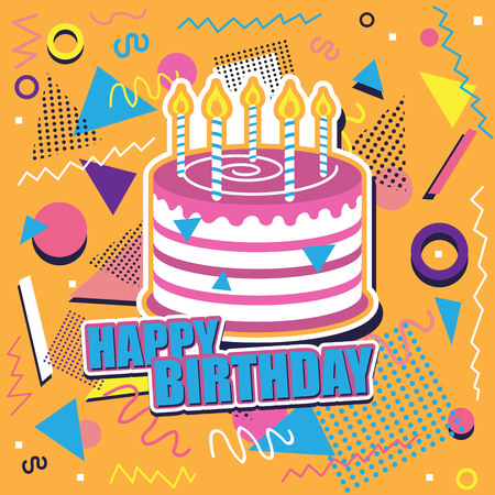 Happy birthday background with cake and abstract design Illustration