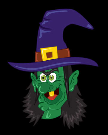 Witch Halloween clip art vector illustration on black background