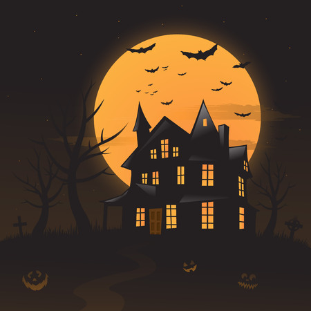 Vector haunted house background