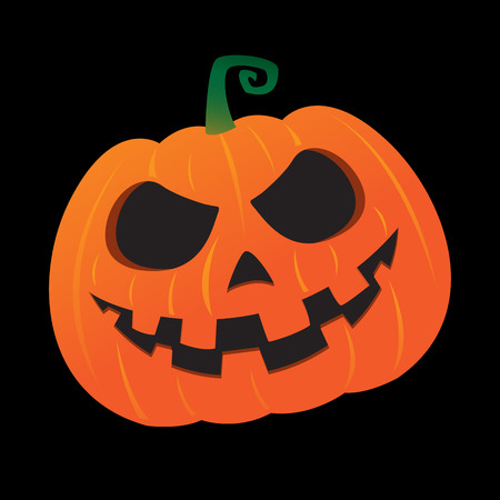 Halloween pumpkin vector illustration on black background