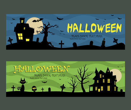 Halloween banners design haunted house background Vectores
