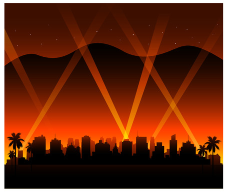 california sunset city background