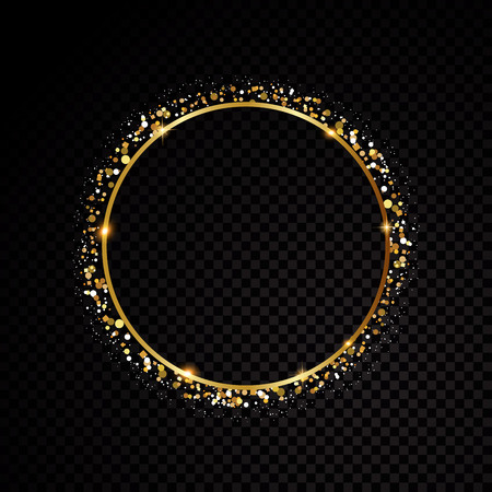 Vector round frame. Shining circle banner. Isolated on black transparent background. Vector illustration Zdjęcie Seryjne - 120213580
