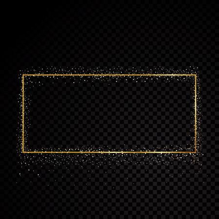 Cadre doré scintillant rectangle. Isolé sur fond transparent noir. Illustration vectorielle