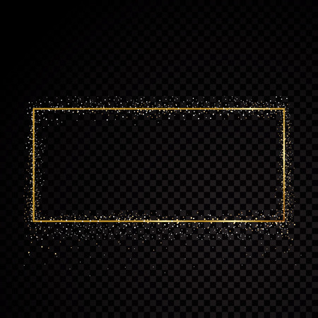 Rectangle sparkle golden frame. Isolated on black transparent background. Vector illustration